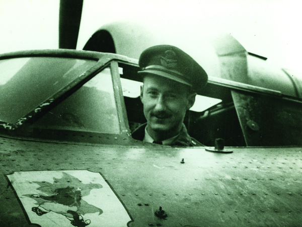 Air Commodore Leonard Birchall in Canso cockpit